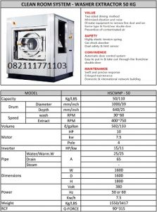 PAROS NEW PURE CLEAN ROOM SYSTEM WASHER EXTRACTOR 50KG